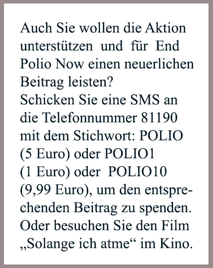 Kasten, Polio, EndPolioNow, End Polio Now, Hinweis, Film