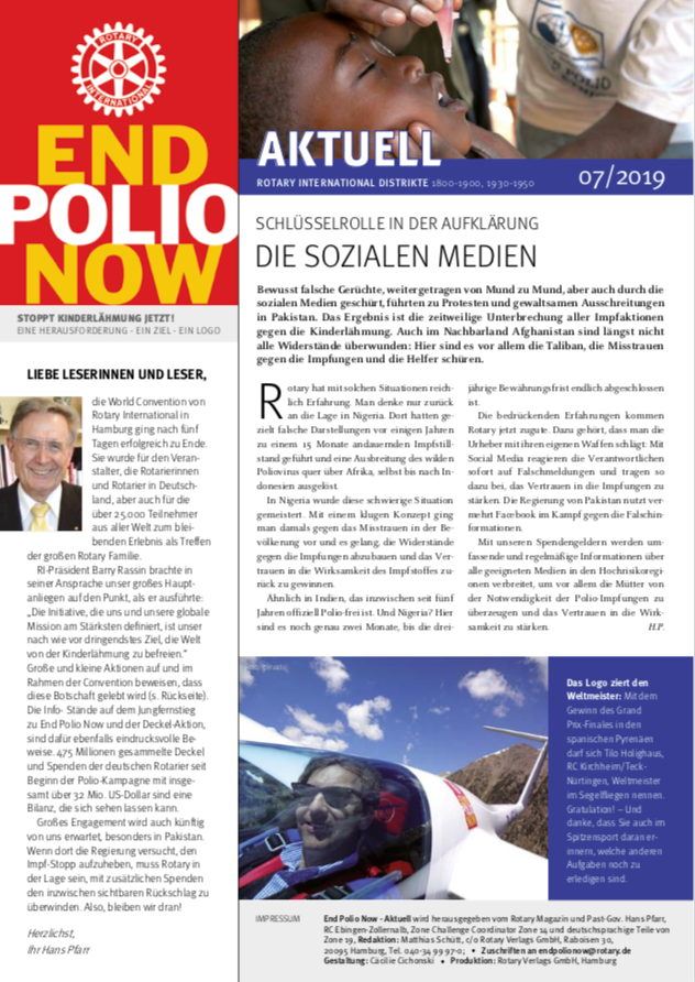 2019, polio, end polio now, epn, kinderlähmung, krankheit, newsletter, juli