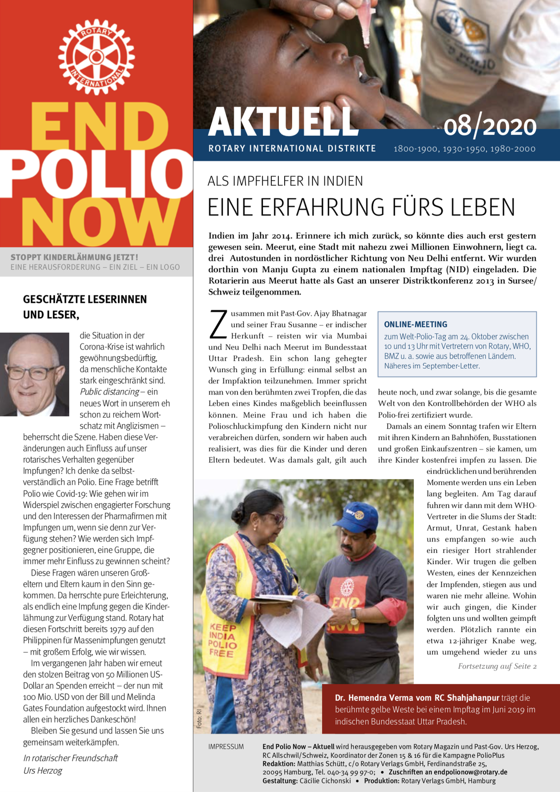 2020, end polio now, epn, polio, kinderlähmung, newsletter, august