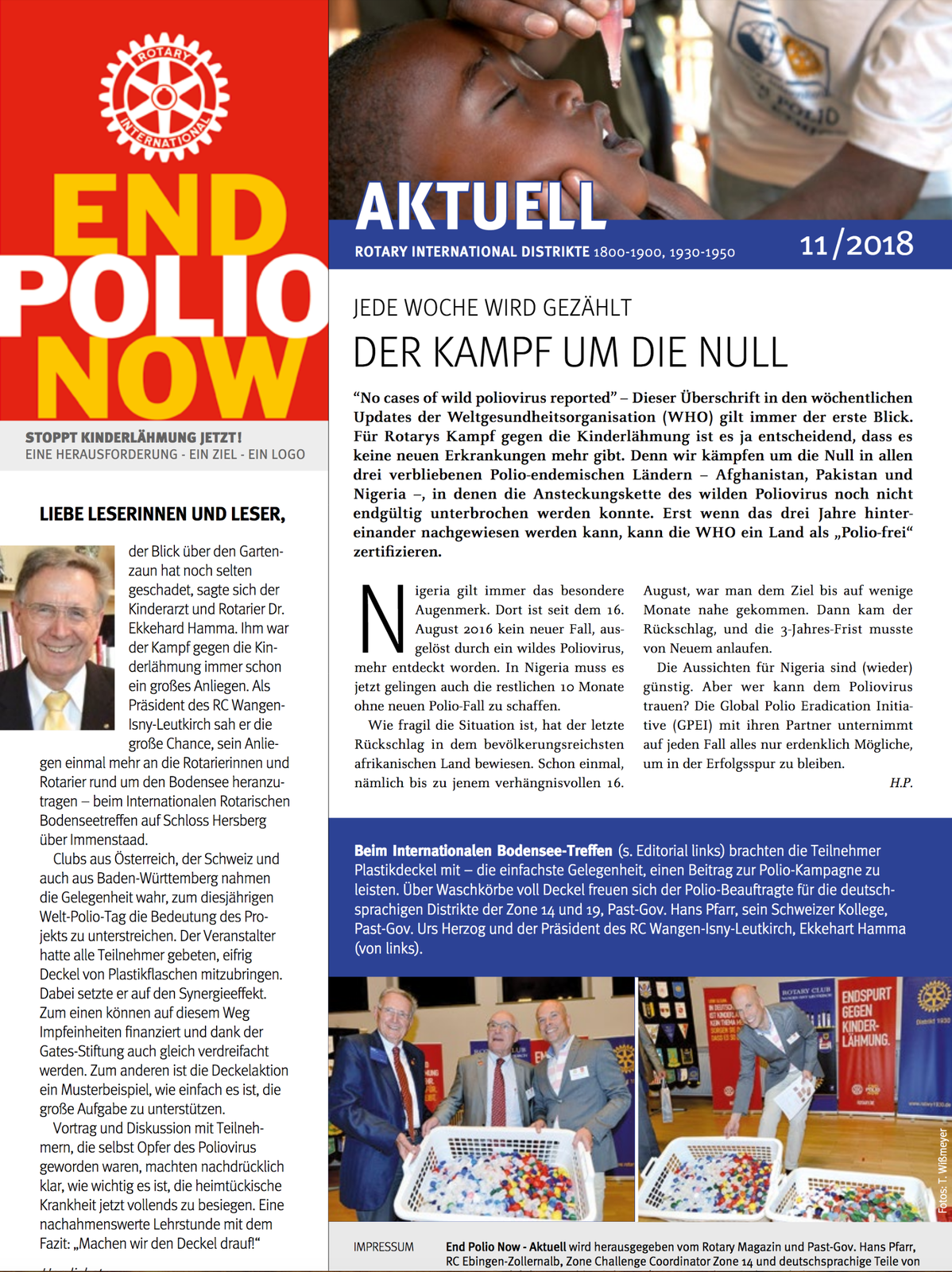 EPN, EndPolioNow, End Polio Now, Polio, Kinderlähmung, Krankheit, Gesundheit, Newsletter, November 2018