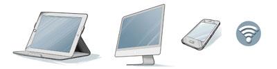 Als externer Teilnehmer einen Computer, einen Laptop, Tablet oder Smartphone und damit die Technik funktioniert, müssen alle Rechner online sein